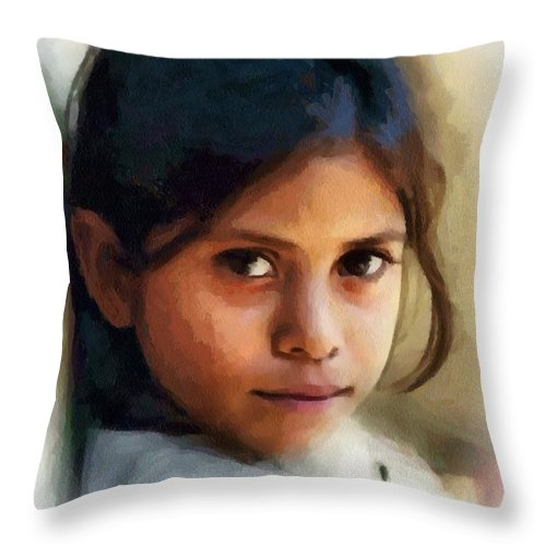 Child Throw Pillow featuring the digital art Those Eyes by Gun Legler