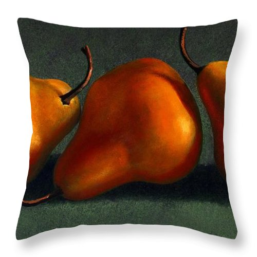 Still Life Throw Pillow featuring the painting Three Golden Pears by Frank Wilson