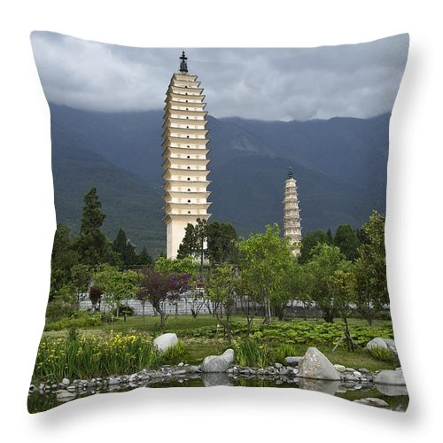 Asia Throw Pillow featuring the photograph Three Pagodas Of Dali by Michele Burgess