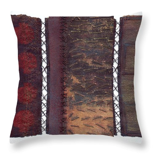 3panel Throw Pillow featuring the painting Three Panel Transitional Page Format by Kerryn Madsen- Pietsch
