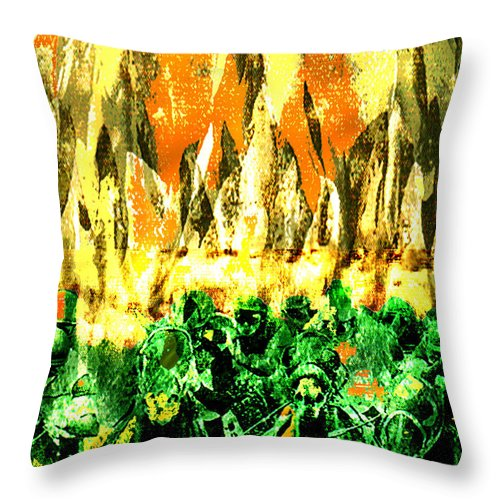 Thundering Throw Pillow featuring the digital art Thundering Hooves by Seth Weaver