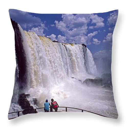 South America Throw Pillow featuring the photograph Thundering Water by Michele Burgess