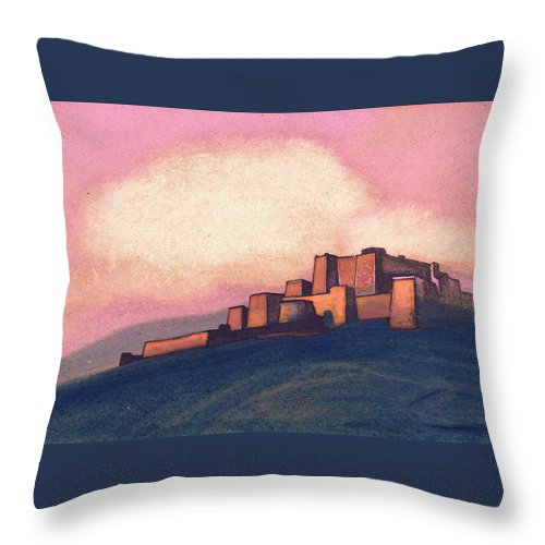 Architectural Throw Pillow featuring the painting Tibetan Fortress by Nicholas Roerich