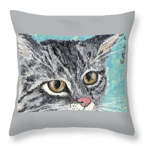 Cats Throw Pillow featuring the painting Tiger Cat by Reina Resto