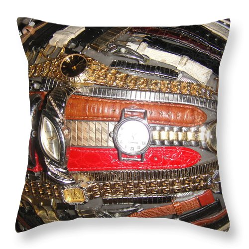 Steampunk Throw Pillow featuring the mixed media Time To Hit The Snow... by WaLdEmAr BoRrErO