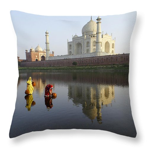 Taj Mahal Throw Pillow featuring the photograph Timeless Taj Mahal by Michele Burgess
