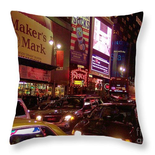 New York Throw Pillow featuring the photograph Times Square Night by Debbi Granruth