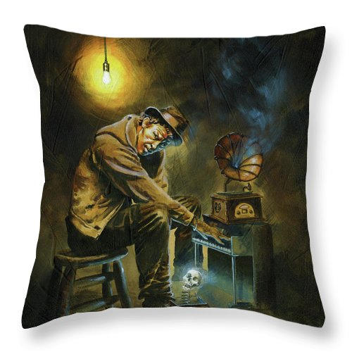 Tom Waits Throw Pillow featuring the painting Tom Waits by Ken Meyer jr