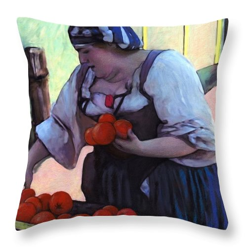 Tomatoe Throw Pillow featuring the digital art Tomatoe Lady by Snake Jagger