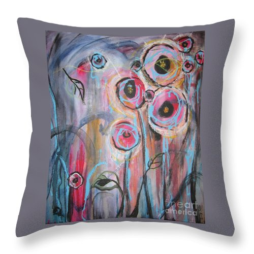 Aabstract Paintings Throw Pillow featuring the painting Too Many Temptations by Seon-Jeong Kim