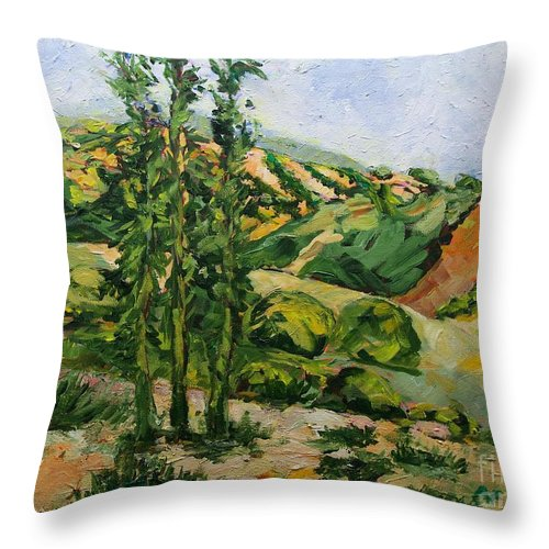 Landscape Throw Pillow featuring the painting Top of the Hill by Allan P Friedlander