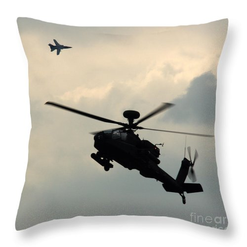 Tornado F3 Throw Pillow featuring the photograph Tornado F3 And Apache by Angel Ciesniarska