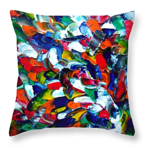 Action Throw Pillow featuring the painting 1 Toucan 2 Toucan 3 Toucan by Stephane Trahan