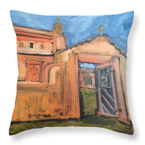 Landscape Throw Pillow featuring the painting Trampas Church by Ruth Hansen