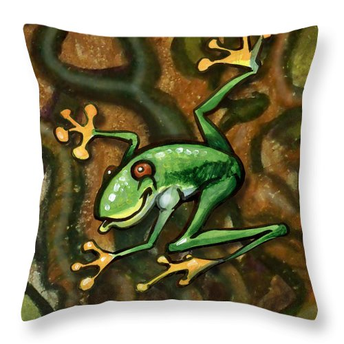 Tree Throw Pillow featuring the painting Tree Frog by Kevin Middleton