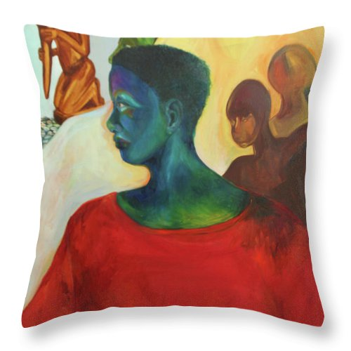 Oil Painting Throw Pillow featuring the painting Trickster by Daun Soden-Greene