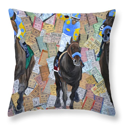 American Pharaoh Throw Pillow featuring the painting Triple Crown by Michael Lee