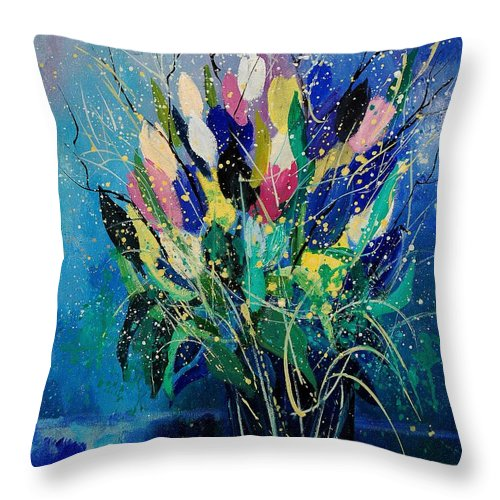 Flowers Throw Pillow featuring the painting Tulips 45 by Pol Ledent