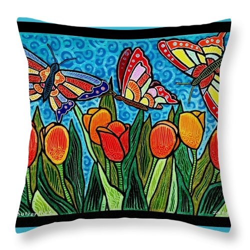 Butterflies Throw Pillow featuring the painting Tulips and Butterflies by Jim Harris