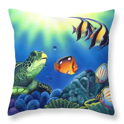 Turtle Throw Pillow featuring the painting Turtle Dreams by Angie Hamlin