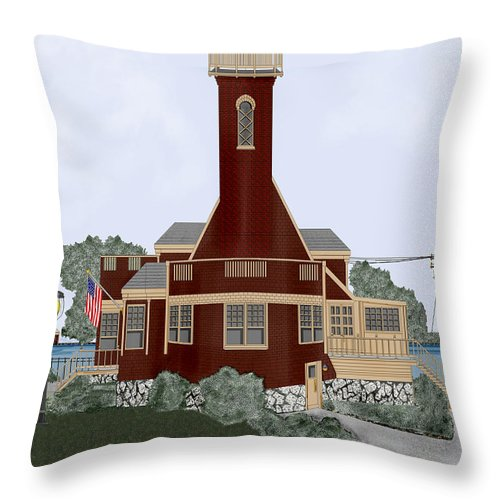 Lighthouse Throw Pillow featuring the painting Turtle Rock Lighthouse by Anne Norskog