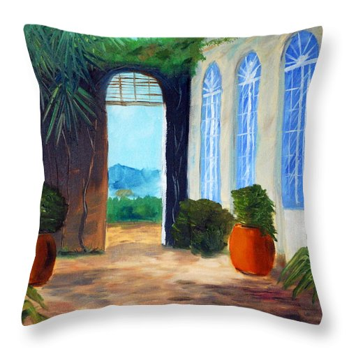 Italy Throw Pillow featuring the painting Tuscany Court Yard by Phil Burton