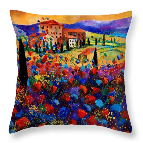 Flowers Throw Pillow featuring the painting Tuscany Poppies by Pol Ledent