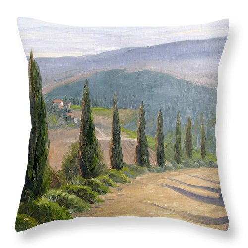 Landscape Throw Pillow featuring the painting Tuscany Road by Jay Johnson