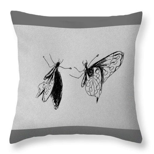 Butterfly Throw Pillow featuring the drawing Two Butterfly by Hae Kim