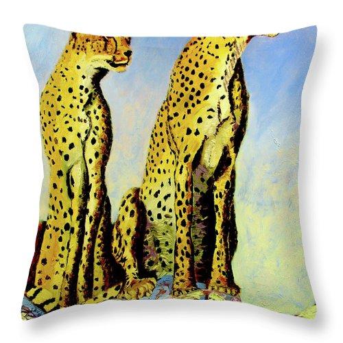 Cheetahs Throw Pillow featuring the painting Two Cheetahs by Stan Hamilton