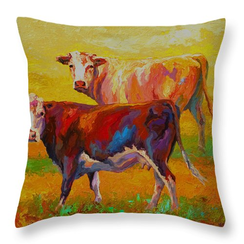 Cows Throw Pillow featuring the painting Two Cows 1 by Marion Rose