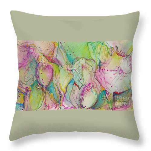 Abstract Throw Pillow featuring the painting Two Lips by Jan Bennicoff