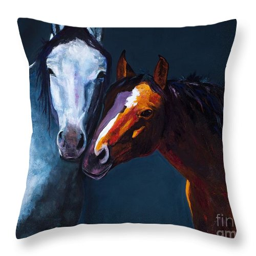 Horses Throw Pillow featuring the painting Unbridled Love by Frances Marino