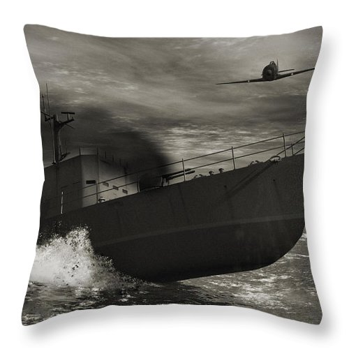 War Throw Pillow featuring the digital art Under Attack by Richard Rizzo