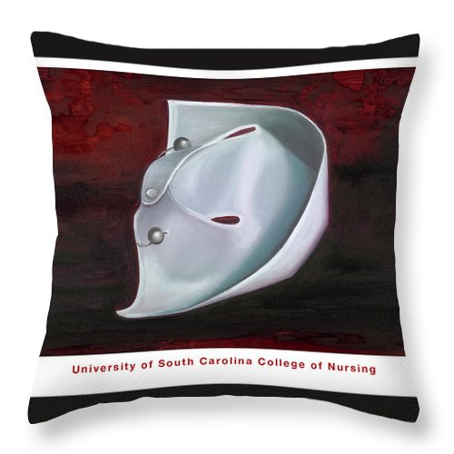 Nursing Throw Pillow featuring the painting University Of South Carolina College Of Nursing by Marlyn Boyd
