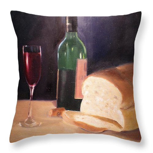 Wine Throw Pillow featuring the painting Untitled by Toni Berry