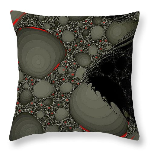 Fractals Embers Fire Cells Stones Rocks Throw Pillow featuring the digital art Untitled by Veronica Jackson
