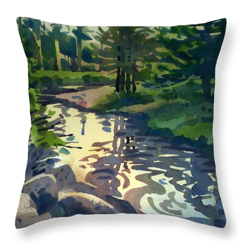 Stream Throw Pillow featuring the painting Up With The Fishes by Donald Maier