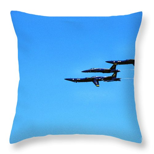 Us Navy Blue Angels Throw Pillow featuring the photograph Us Navy Blue Angels Flight Demonstration Team In Fa 18 Hornets by Thomas R Fletcher