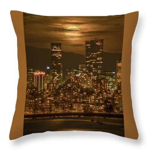Supermoon Throw Pillow featuring the photograph Vancouver's Supermoon by Mohsen Kamalzadeh