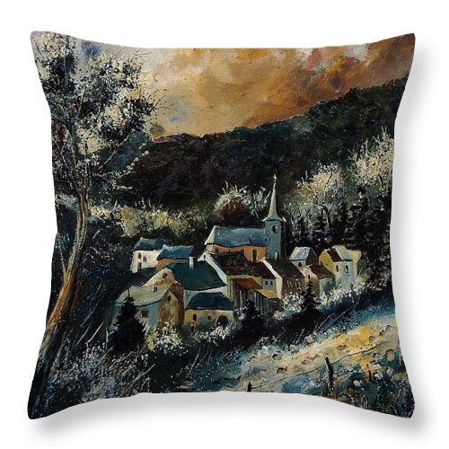 Tree Throw Pillow featuring the painting Vencimont 78 by Pol Ledent