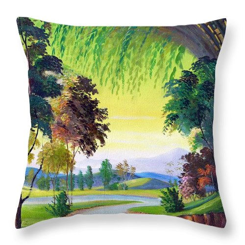 Landscape Throw Pillow featuring the painting Verde Que Te Quero Verde by Leomariano artist BRASIL