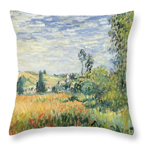 French Throw Pillow featuring the painting Vetheuil by Claude Monet