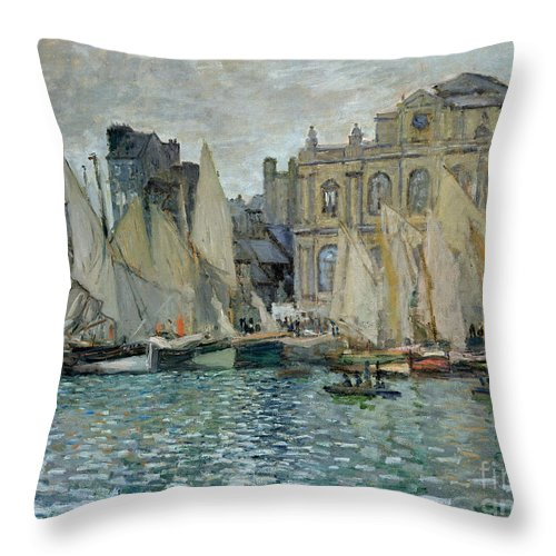 French; Harbour; Sailing Boats; Boat; Impressionist; Normandy; Quay Throw Pillow featuring the painting View Of Le Havre by Claude Monet