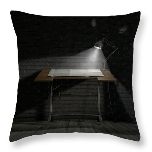 Architect Throw Pillow featuring the digital art Vintage Desk And Lamp by Allan Swart