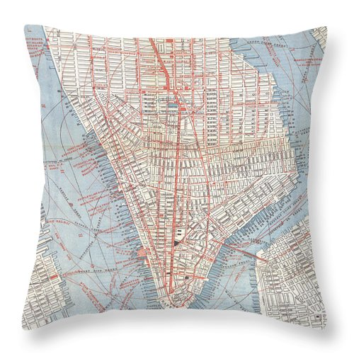 New York City Throw Pillow featuring the drawing Vintage Map Of Lower Manhattan by CartographyAssociates