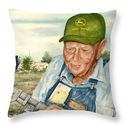 Farmer Throw Pillow featuring the painting Virgil by Sam Sidders