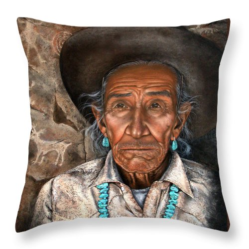 People Throw Pillow featuring the painting Vision Of The Past by Deb Owens-Lowe