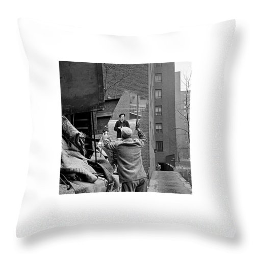 Vivian Maier Self Portrait Probably Taken In Chicago Illinois 1955 Throw Pillow featuring the photograph Vivian Maier Self Portrait Probably Taken In Chicago Illinois 1955 by David Lee Guss