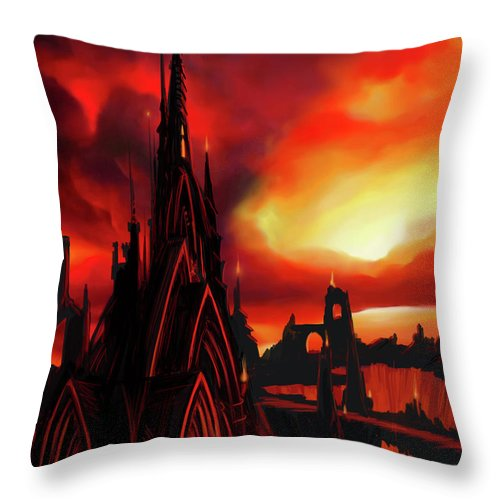 Castle Throw Pillow featuring the painting Volcano Castle by James Christopher Hill